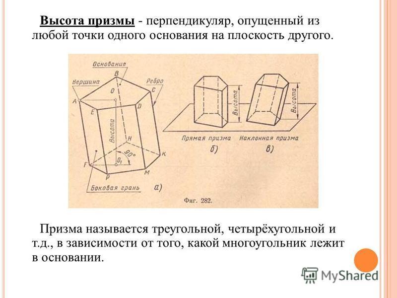 Высота призмы - перпендикуляр, опущенный из любой точки одного основания на плоскость другого. Призма называется треугольной, четырёхугольной и т.д., в зависимости от того, какой многоугольник лежит в основании.
