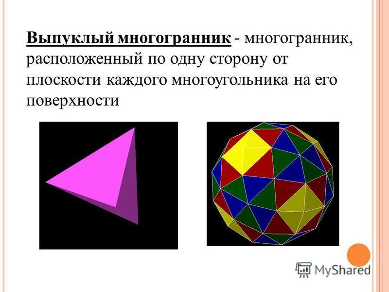 Выпуклый многогранник - многогранник, расположенный по одну сторону от плоскости каждого многоугольника на его поверхности