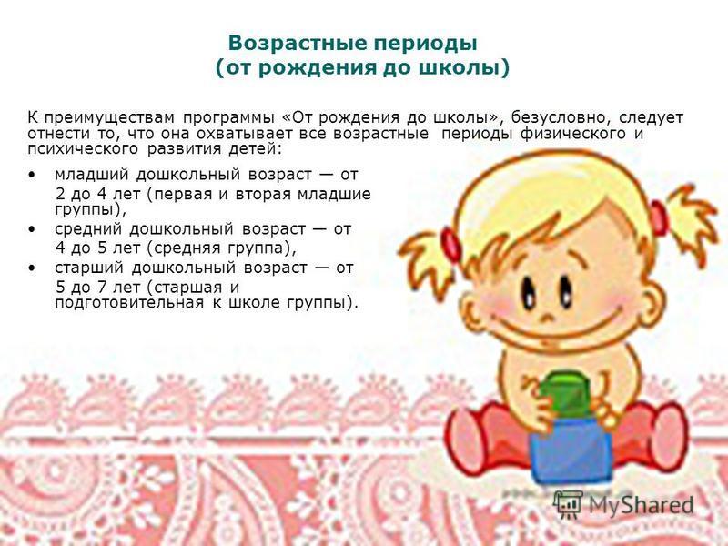 младший дошкольный возраст от 2 до 4 лет (первая и вторая младшие группы), средний дошкольный возраст от 4 до 5 лет (средняя группа), старший дошкольный возраст от 5 до 7 лет (старшая и подготовительная к школе группы). Возрастные периоды (от рождени