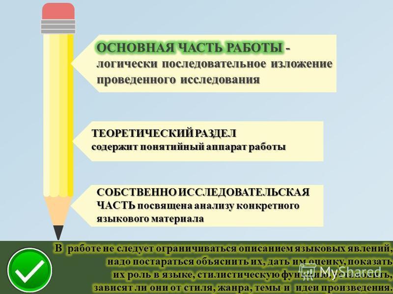ТЕОРЕТИЧЕСКИЙ РАЗДЕЛ содержит понятийный аппарат работы СОБСТВЕННО ИССЛЕДОВАТЕЛЬСКАЯ ЧАСТЬ посвящена анализу конкретного языкового материала