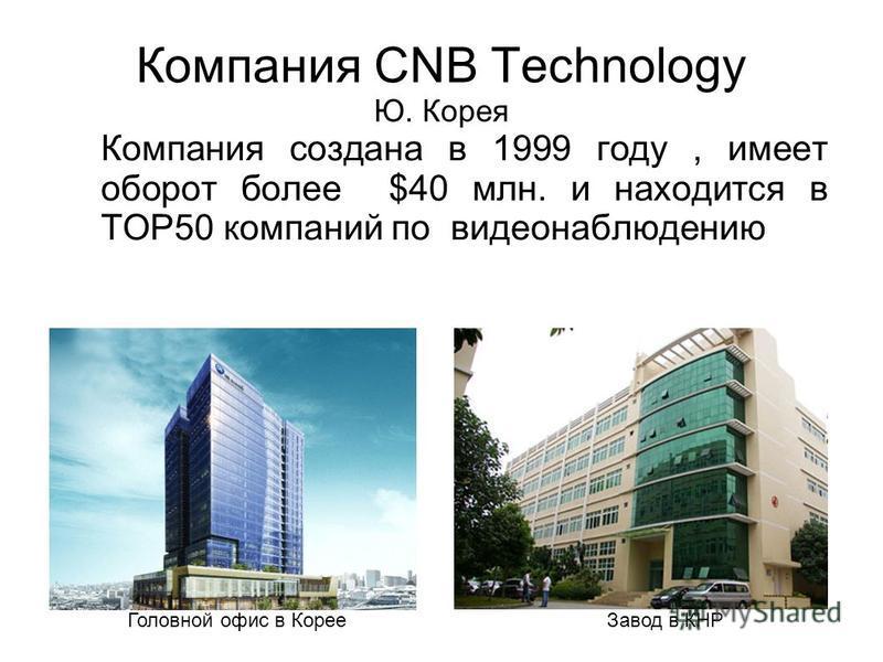 Компания CNB Technology Ю. Корея Компания создана в 1999 году, имеет оборот более $40 млн. и находится в TOP50 компаний по видеонаблюдению Головной офис в Корее Завод в КНР
