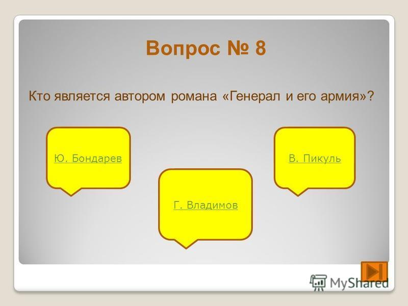 Вопрос 8 Кто является автором романа «Генерал и его армия»? Ю. Бондарев Г. Владимов В. Пикуль