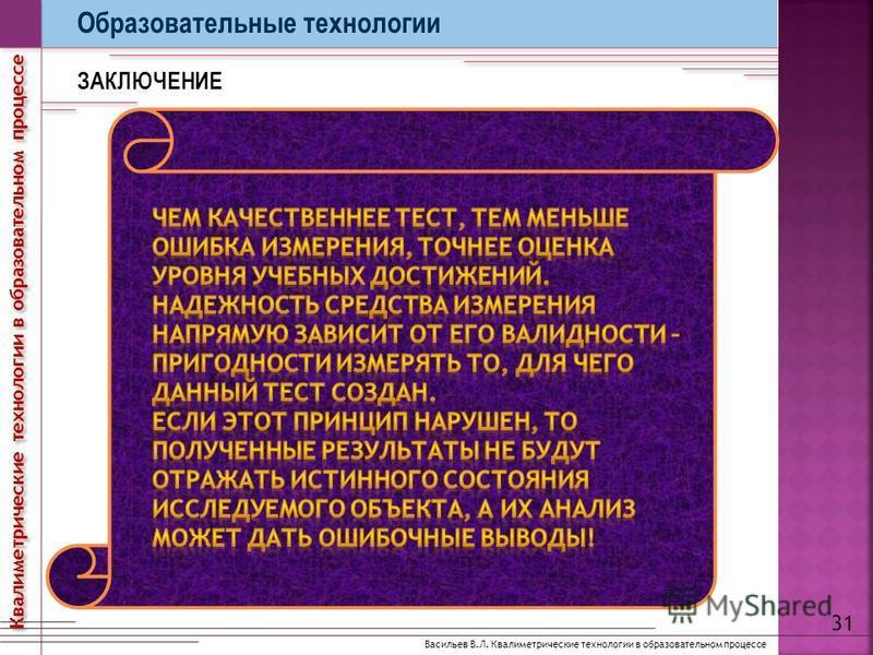 Образовательные технологии ЗАКЛЮЧЕНИЕ 31 Васильев В.Л. Квалиметрические технологии в образовательном процессе Квалиметрические технологии в образовательном процессе