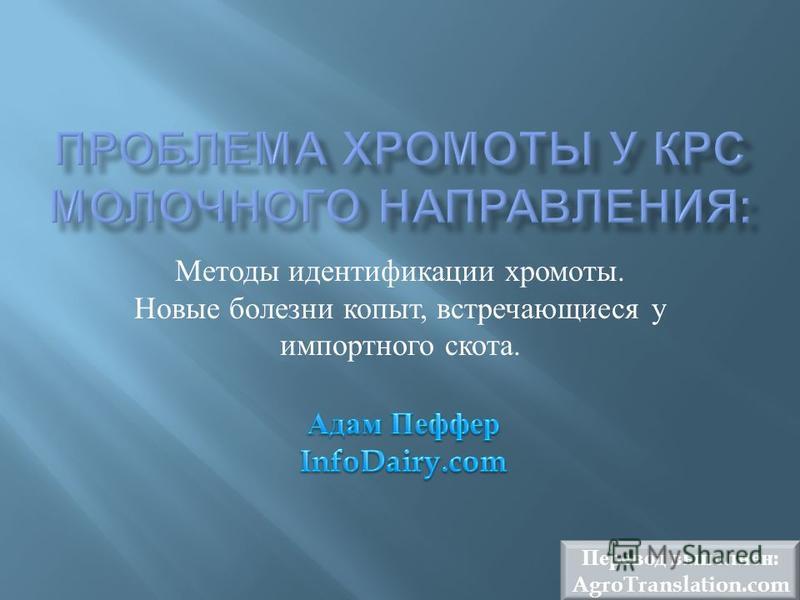Методы идентификации хромоты. Новые болезни копыт, встречающиеся у импортного скота. Перевод выполнен : AgroTranslation.com