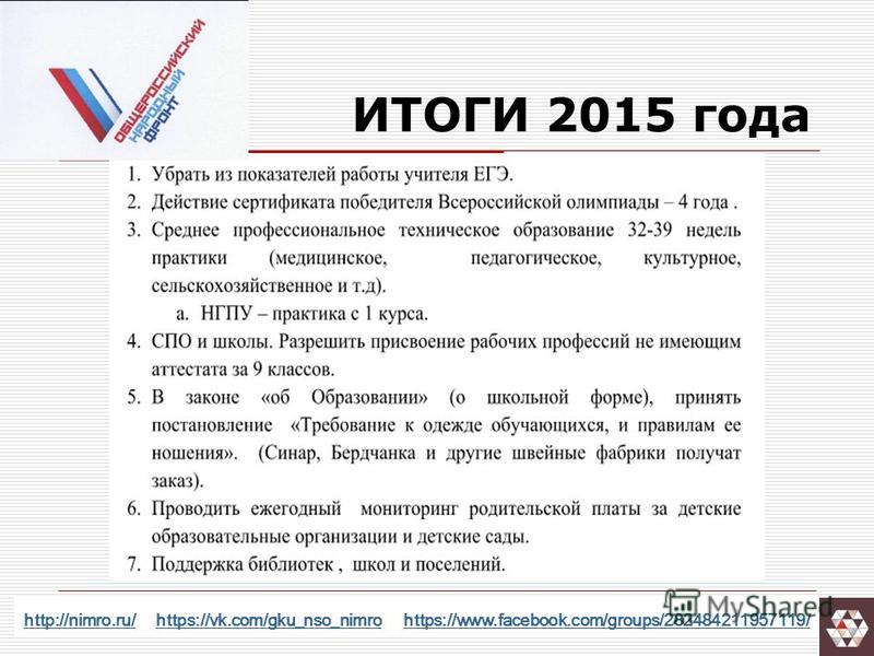 ИТОГИ 2015 года http://nimro.ru/http://nimro.ru/ https://vk.com/gku_nso_nimro https://www.facebook.com/groups/282484211957119/https://vk.com/gku_nso_nimrohttps://www.facebook.com/groups/282484211957119/