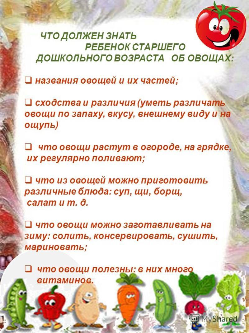 ЧТО ДОЛЖЕН ЗНАТЬ РЕБЕНОК СТАРШЕГО ДОШКОЛЬНОГО ВОЗРАСТА ОБ ОВОЩАХ: названия овощей и их частей; сходства и различия (уметь различать овощи по запаху, вкусу, внешнему виду и на ощупь) что овощи растут в огороде, на грядке, их регулярно поливают; что из