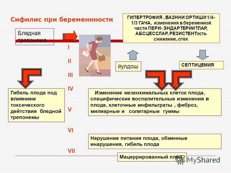 Сифилис при беременности Бледная трепонема йулдош I II III IV V VI VII Изменение мезенхимальных клеток плода, специфические воспалительные изменения в плоде, клеточные инфильтраты, фиброз, милиарные и солитарные гуммы Нарушение питания плода, обменны