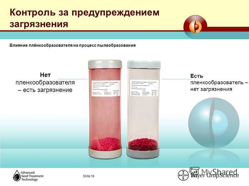 Slide 16 Контроль за предупреждением загрязнения Нет пленкообразователя – есть загрязнение Есть пленкообразователь – нет загрязнения Влияние плёнкообразователя на процесс пылеобразования