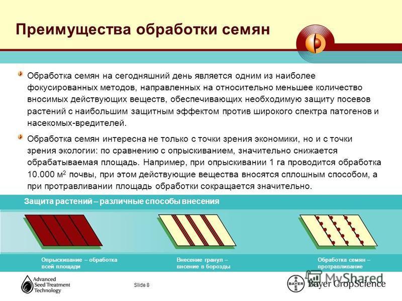 Slide 8 Преимущества обработки семян Обработка семян на сегодняшний день является одним из наиболее фокусированных методов, направленных на относительно меньшее количество вносимых действующих веществ, обеспечивающих необходимую защиту посевов растен