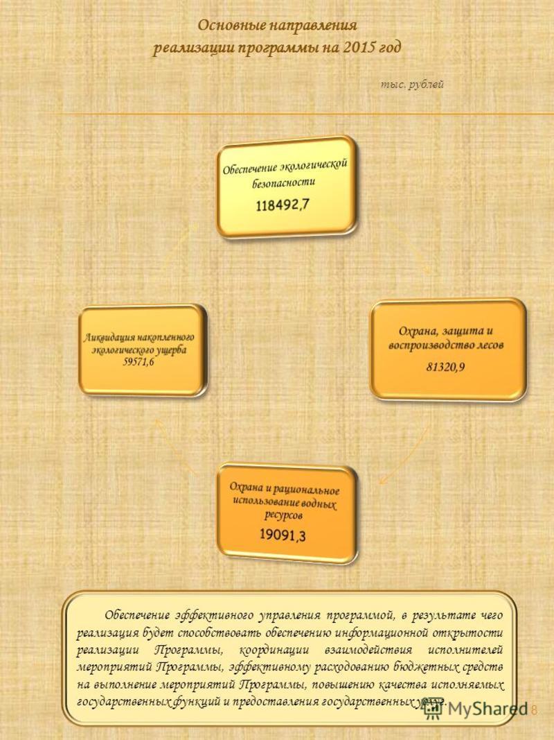 Основные направления реализации программы на 2015 год тыс. рублей Обеспечение эффективного управления программой, в результате чего реализация будет способствовать обеспечению информационной открытости реализации Программы, координации взаимодействия