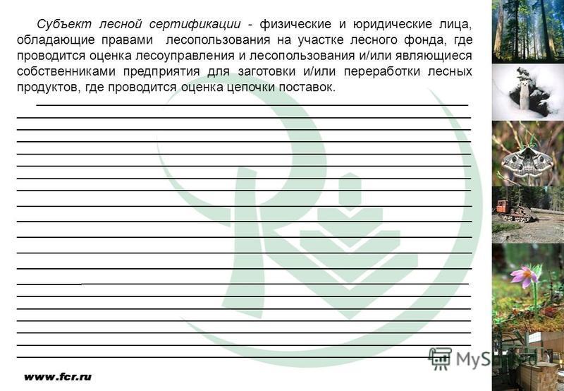 Субъект лесной сертификации - физические и юридические лица, обладающие правами лесопользования на участке лесного фонда, где проводится оценка лесоуправления и лесопользования и/или являющиеся собственниками предприятия для заготовки и/или переработ