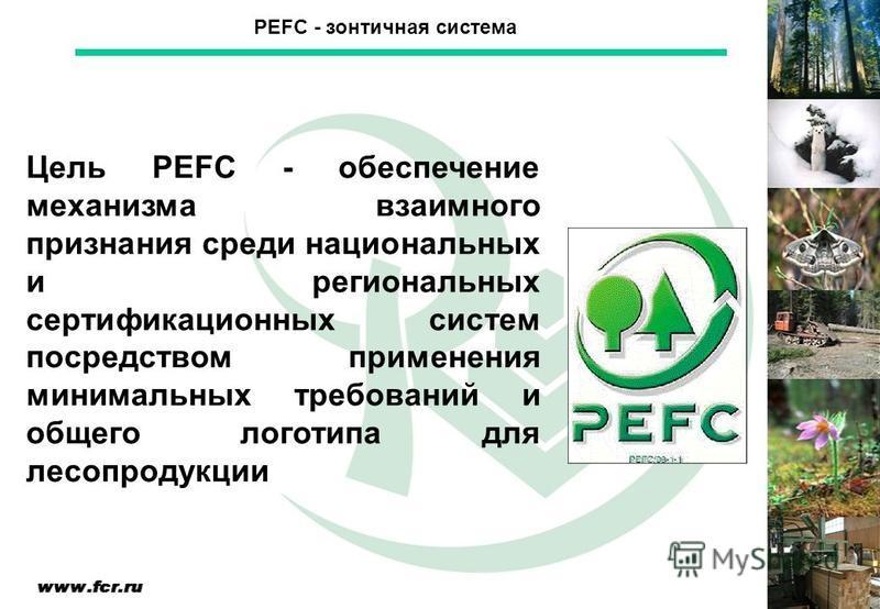 Цель PEFC - обеспечение механизма взаимного признания среди национальных и региональных сертификационных систем посредством применения минимальных требований и общего логотипа для лесопродукции PEFC - зонтичная система