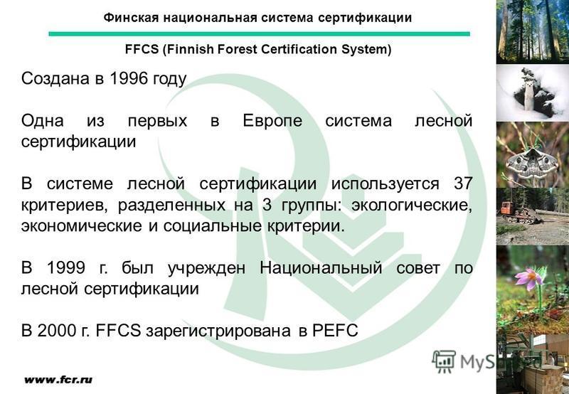 Создана в 1996 году Одна из первых в Европе система лесной сертификации В системе лесной сертификации используется 37 критериев, разделенных на 3 группы: экологические, экономические и социальные критерии. В 1999 г. был учрежден Национальный совет по