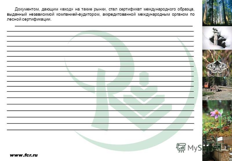 Документом, дающим «вход» на такие рынки, стал сертификат международного образца, выданный независимой компанией-аудитором, аккредитованной международным органом по лесной сертификации. ________________________________________________________________