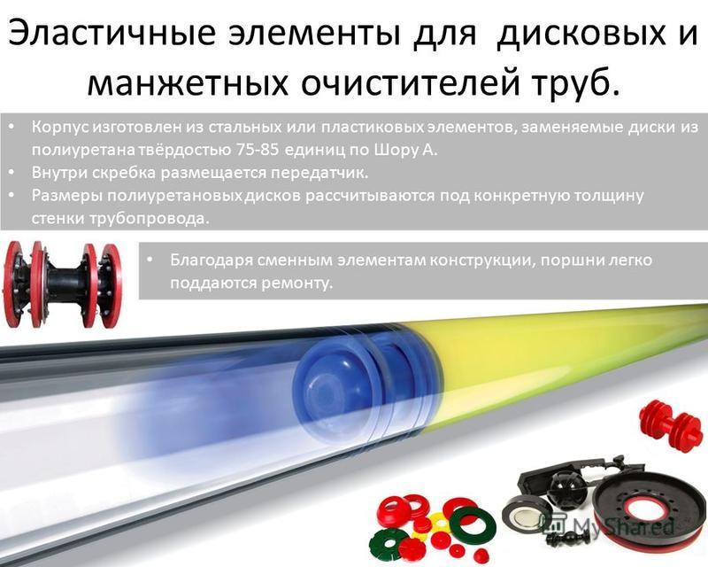 Эластичные элементы для дисковых и манжетных очистителей труб. Благодаря сменным элементам конструкции, поршни легко поддаются ремонту. Корпус изготовлен из стальных или пластиковых элементов, заменяемые диски из полиуретана твёрдостью 75-85 единиц п