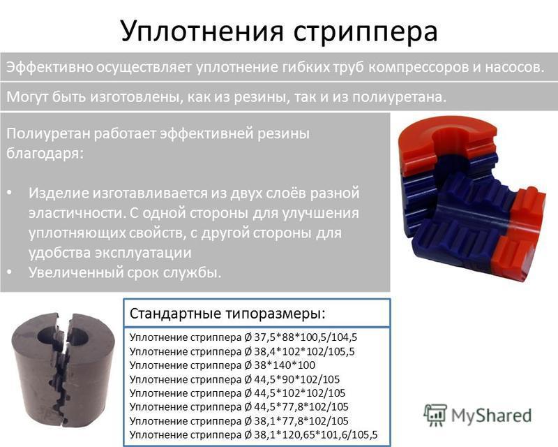 Уплотнения стриппера Эффективно осуществляет уплотнение гибких труб компрессоров и насосов. Полиуретан работает эффективней резины благодаря: Изделие изготавливается из двух слоёв разной эластичности. С одной стороны для улучшения уплотняющих свойств