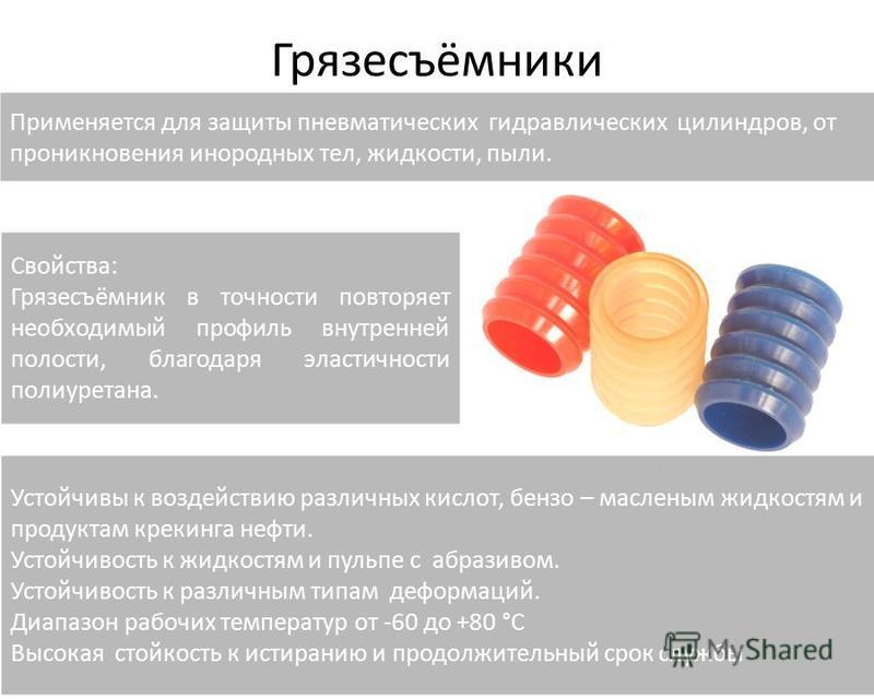 Грязесъёмники Применяется для защиты пневматических гидравлических цилиндров, от проникновения инородных тел, жидкости, пыли. Свойства: Грязесъёмник в точности повторяет необходимый профиль внутренней полости, благодаря эластичности полиуретана. Усто