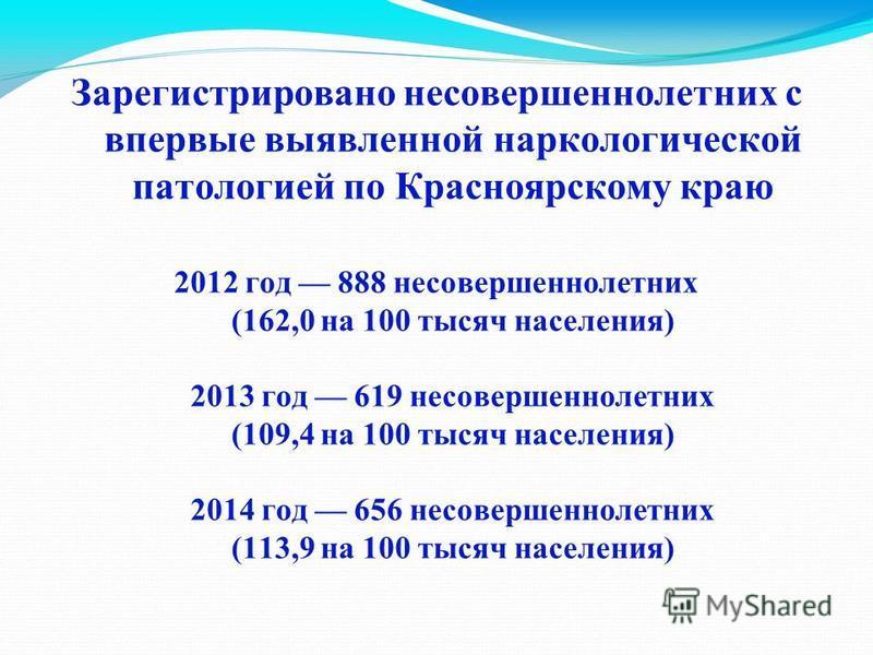 Зарегистрировано несовершеннолетних с впервые выявленной наркологической патологией по Красноярскому краю 2012 год 888 несовершеннолетних (162,0 на 100 тысяч населения) 2013 год 619 несовершеннолетних (109,4 на 100 тысяч населения) 2014 год 656 несов