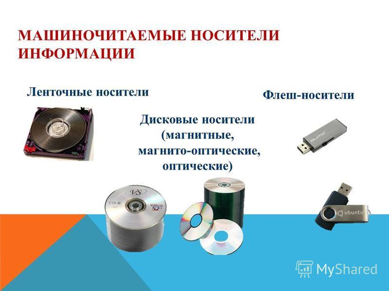МАШИНОЧИТАЕМЫЕ НОСИТЕЛИ ИНФОРМАЦИИ Ленточные носители Дисковые носители (магнитные, магнито-оптические, оптические) Флеш-носители