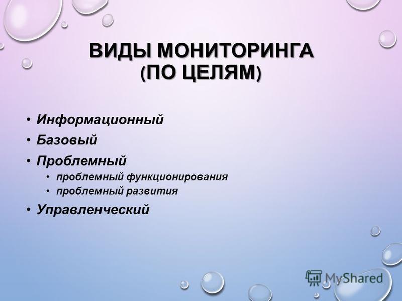 ВИДЫ МОНИТОРИНГА ( ПО ЦЕЛЯМ ) Информационный Базовый Проблемный проблемный функционирования проблемный развития Управленческий