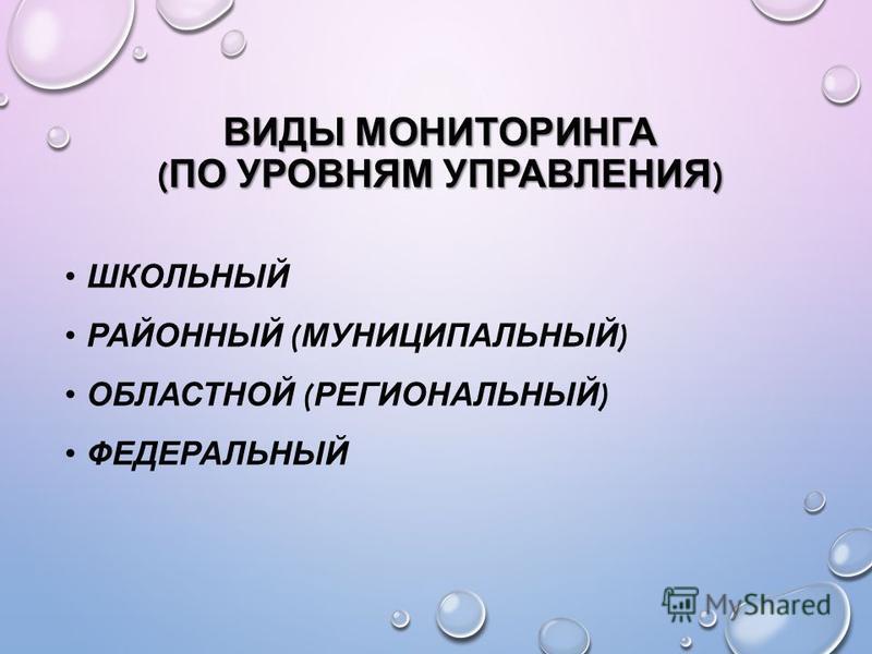 ВИДЫ МОНИТОРИНГА ( ПО УРОВНЯМ УПРАВЛЕНИЯ ) ШКОЛЬНЫЙ РАЙОННЫЙ ( МУНИЦИПАЛЬНЫЙ ) ОБЛАСТНОЙ ( РЕГИОНАЛЬНЫЙ ) ФЕДЕРАЛЬНЫЙ