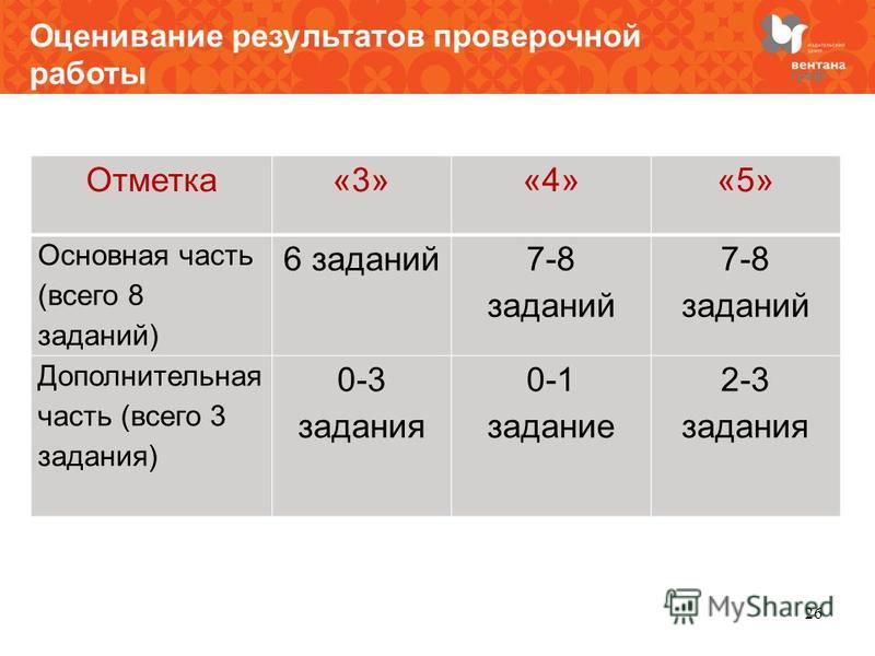 Оценивание результатов проверочной работы Отметка«3»«4»«5» Основная часть (всего 8 заданий) 6 заданий 7-8 заданий Дополнительная часть (всего 3 задания) 0-3 задания 0-1 задание 2-3 задания 26