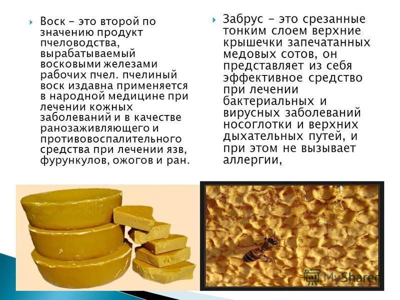 Воск - это второй по значению продукт пчеловодства, вырабатываемый восковыми железами рабочих пчел. пчелиный воск издавна применяется в народной медицине при лечении кожных заболеваний и в качестве ранозаживляющего и противовоспалительного средства п