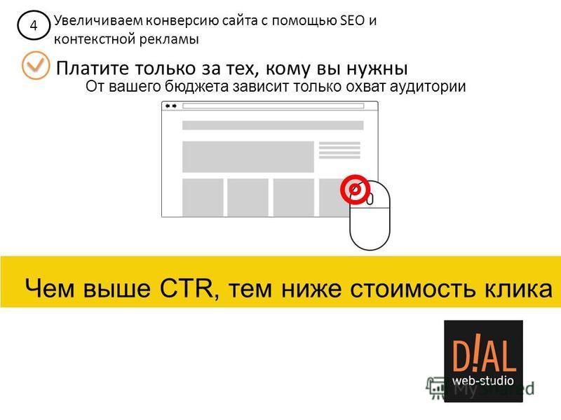 4 Увеличиваем конверсию сайта с помощью SEO и контекстной рекламы Платите только за тех, кому вы нужны От вашего бюджета зависит только охват аудитории Чем выше CTR, тем ниже стоимость клика