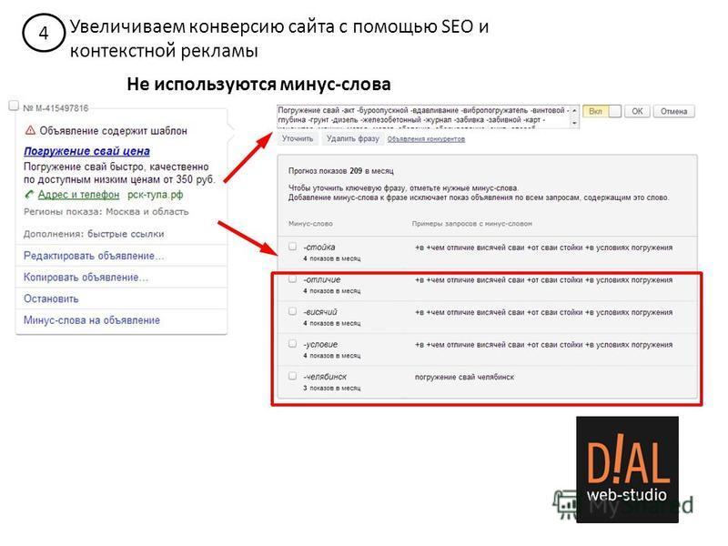 4 Увеличиваем конверсию сайта с помощью SEO и контекстной рекламы Не используются минус-слова
