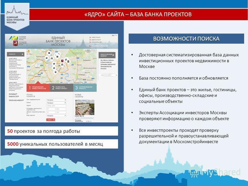 ВОЗМОЖНОСТИ ПОИСКА Достоверная систематизированная база данных инвестиционных проектов недвижимости в Москве База постоянно пополняется и обновляется Единый банк проектов – это жилье, гостиницы, офисы, производственно-складские и социальные объекты Э