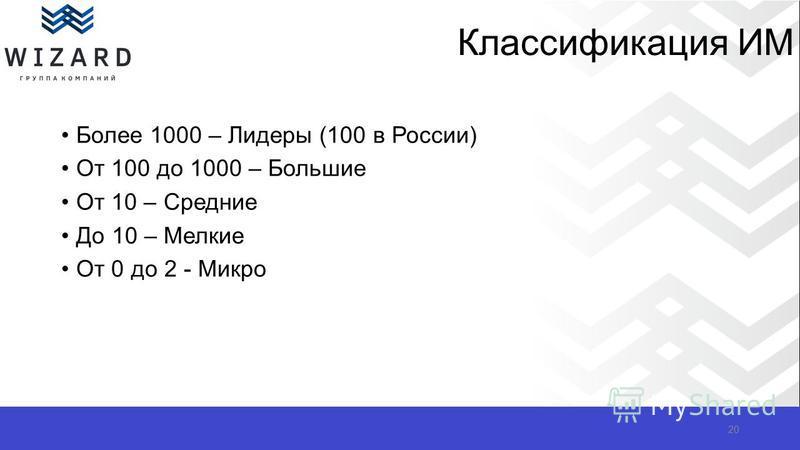 Классификация ИМ Более 1000 – Лидеры (100 в России) От 100 до 1000 – Большие От 10 – Средние До 10 – Мелкие От 0 до 2 - Микро 20