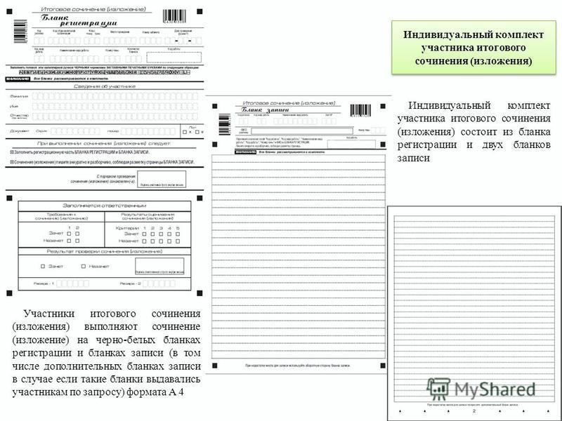 Индивидуальный комплект участника итогового сочинения (изложения) Участники итогового сочинения (изложения) выполняют сочинение (изложение) на черно-белых бланках регистрации и бланках записи (в том числе дополнительных бланках записи в случае если т