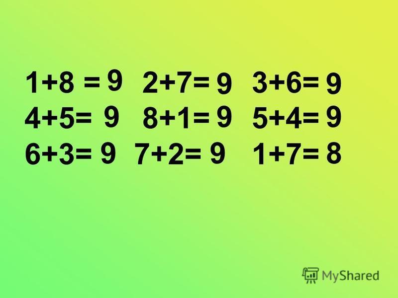 1+8 = 2+7= 3+6= 4+5= 8+1= 5+4= 6+3= 7+2= 1+7= 9 8 9 9 9 9 9 9 9