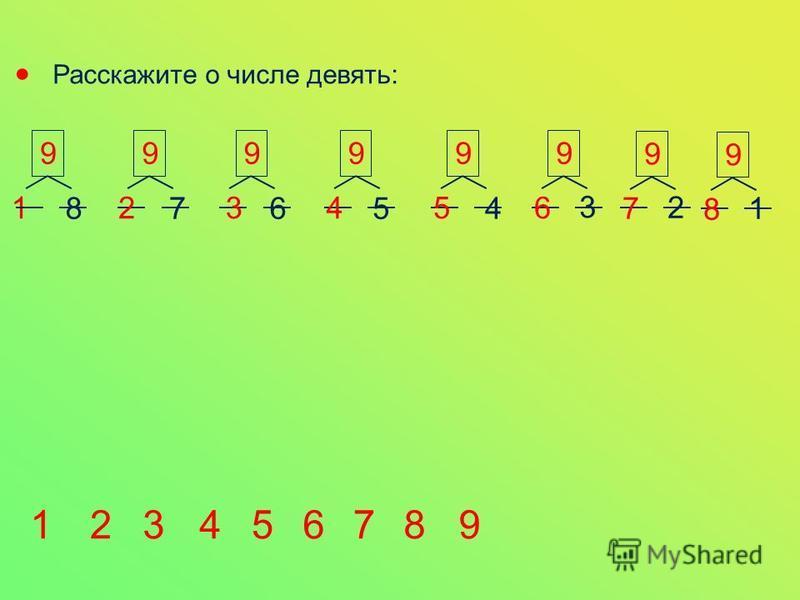 Расскажите о числе девять: 1 99 2 9 3 9 4 9 5 87654 9 6 3 9 7 2 9 8 1 123456789