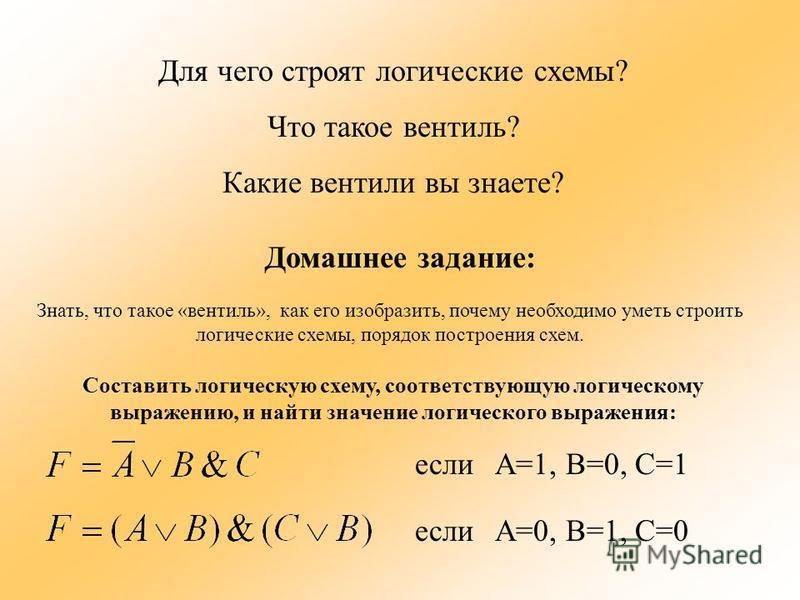 Для чего строят логические схемы? Что такое вентиль? Какие вентили вы знаете? Домашнее задание: Знать, что такое «вентиль», как его изобразить, почему необходимо уметь строить логические схемы, порядок построения схем. Составить логическую схему, соо