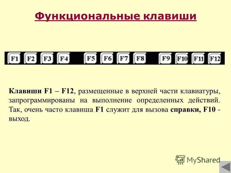 Функциональные клавиши Клавиши F1 – F12, размещенные в верхней части клавиатуры, запрограммированы на выполнение определенных действий. Так, очень часто клавиша F1 служит для вызова справки, F10 - выход.