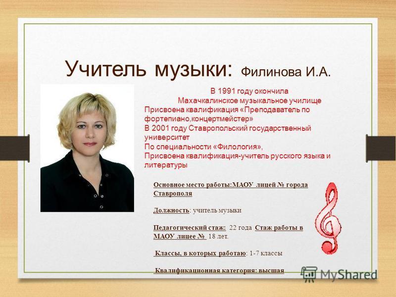 Учитель музыки: Филинова И.А. В 1991 году окончила Махачкалинское музыкальное училище Присвоена квалификация «Преподаватель по фортепиано,концертмейстер» В 2001 году Ставропольский государственный университет По специальности «Филология», Присвоена к