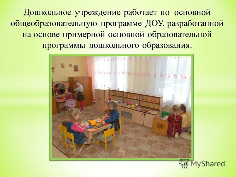 Дошкольное учреждение работает по основной общеобразовательную программе ДОУ, разработанной на основе примерной основной образовательной программы дошкольного образования.