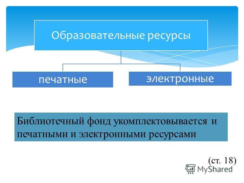 Образовательные ресурсы печатные электронные Библиотечный фонд укомплектовывается и печатными и электронными ресурсами (ст. 18)