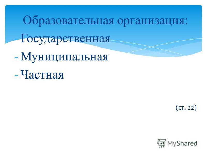 Образовательная организация: -Государственная -Муниципальная -Частная (ст. 22)