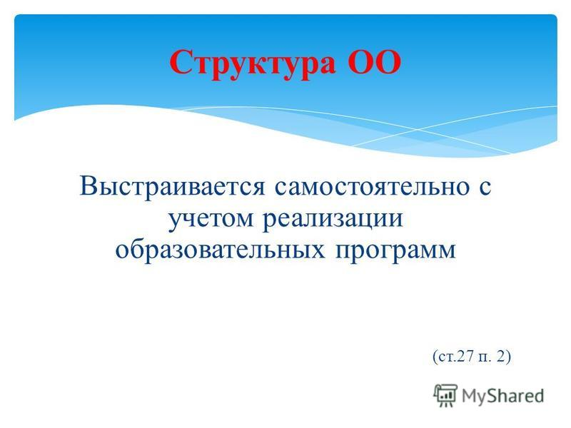 Выстраивается самостоятельно с учетом реализации образовательных программ (ст.27 п. 2) Структура ОО