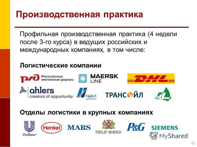 Производственная практика Профильная производственная практика (4 недели после 3-го курса) в ведущих российских и международных компаниях, в том числе: Логистические компании Отделы логистики в крупных компаниях 25
