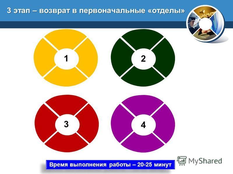 3 этап – возврат в первоначальные «отделы» 1 3 2 4 Время выполнения работы – 20-25 минут