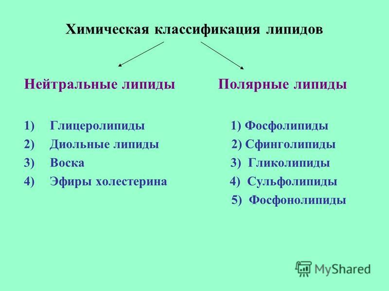 Химическая классификация липидов Нейтральные липиды Полярные липиды 1)Глицеролипиды 1) Фосфолипиды 2)Диольные липиды 2) Сфинголипиды 3)Воска 3) Гликолипиды 4)Эфиры холестерина 4) Сульфолипиды 5) Фосфонолипиды