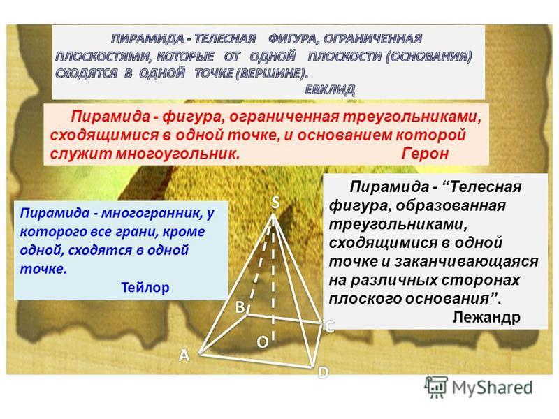 Пирамида - фигура, ограниченная треугольниками, сходящимися в одной точке, и основанием которой служит многоугольник. Герон Пирамида - многогранник, у которого все грани, кроме одной, сходятся в одной точке. Тейлор Пирамида - Телесная фигура, образов
