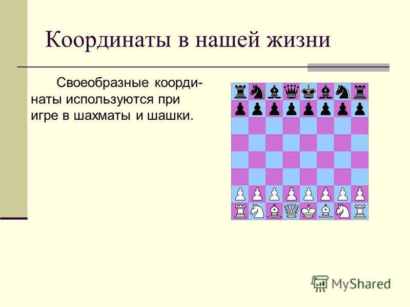 Координаты в нашей жизни Своеобразные координаты используются при игре в шахматы и шашки.