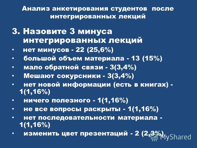 Анализ анкетирования студентов после интегрированных лекций 3. Назовите 3 минуса интегрированных лекций нет минусов - 22 (25,6%) большой объем материала - 13 (15%) мало обратной связи - 3(3,4%) Мешают сокурсники - 3(3,4%) нет новой информации (есть в