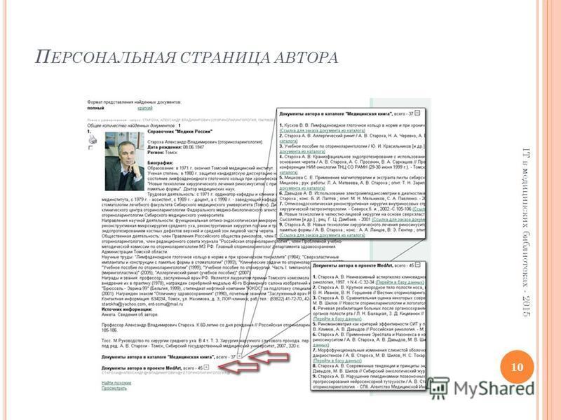 П ЕРСОНАЛЬНАЯ СТРАНИЦА АВТОРА 10 IT в медицинских библиотеках - 2015