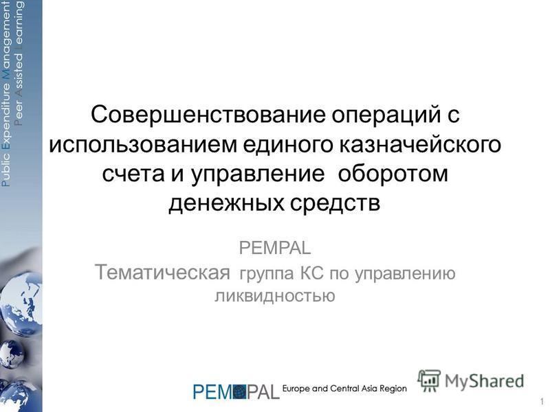 Совершенствование операций с использованием единого казначейского счета и управление оборотом денежных средств PEMPAL Тематическая группа КС по управлению ликвидностью 1