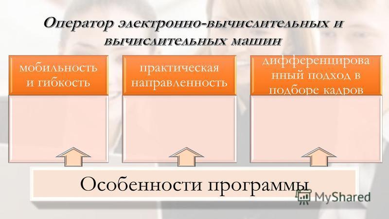 мобильность и гибкость практическая направленность дифференцированный подход в подборе кадров Особенности программы